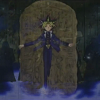 alexseanchai: Yami Yuugi coming through the Egyptian tablet (Yu-Gi-Oh! pharaoh and tablet)