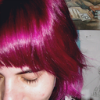 anomily: me with purple-pink hair, looking down (looking down)