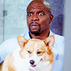 musesfool: terry jeffords & cheddar the corgi (show me how you do that trick)