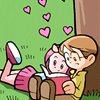 pne: A young man and young woman sitting under a tree reading a book together; there are hearts in the air above them. (Sinfest: Criminy and Fuchsia, Sinfest: Books are Love)