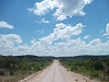 luccaace: Photo of dirt road in semi-arid landscape, with lots of blue sky above it. (Ranch, Road, Sky)