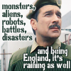 kerravonsen: Brigadier Lethbridge-Stewart: monsters, aliens, robots, battles, disasters and being England, it's raining as well (Brig)