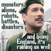 kerravonsen: Brigadier Lethbridge-Stewart: monsters, aliens, robots, battles, disasters and being England, it's raining as well (Brig, monsters-rain)