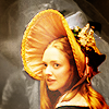 lark_in_flight: Cosette in a large bonnet glancing over her shoulder (curious glance)