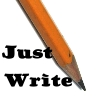 dreamwriters: a pencil at a diagonal with Just Write in the lower left corner (Just Write)