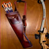 arrow_rest: a red quiver with some arrows and part of a recurve bow (Quiver and bow)