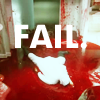 oxfordtweed: Dexter Morgan lies face down in a large pool of blood, with 'FAIL.' written over top (Fail - Dexter)