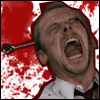 oxfordtweed: Shaun Riley superimposed over a blood spatter background, and screaming with a dart in his head (Shaun - Dart)