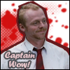 oxfordtweed: Shaun Riley superimposed over a blood spatter background, smiling with the text 'Captain wow!' in the lower left (Shaun - Captain Wow)