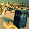 oxfordtweed: The TARDIS in the foreground on a helipad, over-looking the city of London (Dr Who - TARDIS)