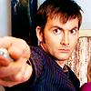 oxfordtweed: The Tenth Doctor holds out his sonic screwdriver at an unseen threat (Dr Who - Ten)