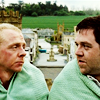 oxfordtweed: Nicholas Angel and Danny Butterman in shock blankets, looking at one another (Danny Nicholas - Mates)