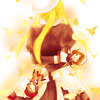 lightlag: Back view of Yasu, a white hat on their head, still partly in their servant uniform with golden butterflies around them (umineko tag)