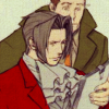 hokuton_punch: An icon of Edgeworth and Gumshoe from the Phoenix Wright games, looking over a file. (phoenix wright edgey gumshoe molested)