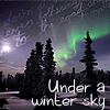 "nameless_winter: A winter night with trees and aurora. There is a faint script texture. Text: ""under a winter's sky"" (Default)"