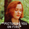 mewithme: Scully from X-Files With Her Eyes Closed. Text: Picturing You On Fire (On Fire)