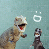 mewithme: Two Toy Dinosaurs With Open Mouths. Text: :D (Dino :D)