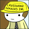 "tablesaw: A man comes home frome work, his hat reads ""Crossword Makers Inc"" (Crossword Makers Inc)"