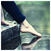 semielliptical: woman dipping her toe in water (dipping my toe in the water)