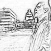 ext_5869: A pencil-sketach rendition of a picture of myself standing under a lamp near the Arkansas capitol building. (cecil, sketch)