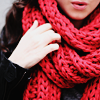 oaktree: A girl wearing a thick red scarf (scarf)