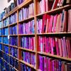 scifisentai: bookshelf with purple and blue lighting (bookshelf)
