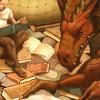 wildefae: a dragon and its girl reading a hoard of books (geekery - will you read with me?)