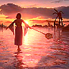 nano_moose: Final Fantasy X. Yuna standing on sunset-limned water with her arms at her sides before she begins the Sending Dance. (Default)