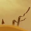 nano_moose: Journey. A robed figure standing at the foot of two gravestones in the desert. ([J] memorial)