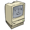 "jesse_the_k: Cartoon drawing of original Mac with screen displaying the ""happy Mac"" smile indicating successful boot (old Mac)"