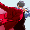 inevitableentresol: Miles Edgeworth, video games character, putting on his coat, seen from behind (Edgeworth putting on coat)