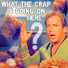 "starlady: Kirk surrounded by tribbles: ""What the crap is going on here?""  (kirk)"