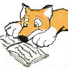 librarygeek: cute cartoon fox with nose in book (Default)