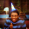 goodbyebird: Community: Troy wearing a birthday hat and giving a cheerful thumbs up. (Community yay Birthday!)