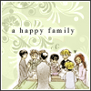 "lavinia: Ouran Host Club sitting at table; text ""happy family"" (Ouran - family)"