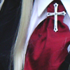 lavinia: cosplay of Integra's red scarf and cross (Hellsing - Integra ascot and cross)