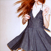 lavinia: redhead spinning in a gray dress (R - redhead in a gray dress)