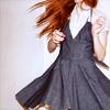 lavinia: redhead spinning in a gray dress (R - redhead in a gray dress)