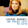 rhivolution: Beverly Crusher in the captain's chair. Text reads 'Status report: no fucks left to give.' (all the fucks I do not give: Beverly Cru)
