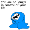 "strina: HaaH comic - girl huddled in blanket nearly fetal caption "" you are no longer in control of your life."" (haah - control of your life)"