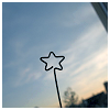 pipisafoat: the outline of a star shape against background of sky (star on a stick)