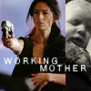 "deird1: Aeryn holding a baby and shooting a gun, with text ""working mother"" (Aeryn working mother and baby)"