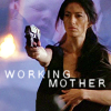 "deird1: Aeryn holding a baby and shooting a gun, with text ""working mother"" (Aeryn working mother)"