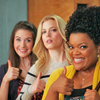 catwalksalone: Britta, Annie and Shirley give the thumbs up (community girls give the thumbs up)