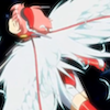 charcoalfeathers: Anime girl in red and white, and white wings, flying in bliss (wings)