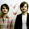 littlemousling: Photo of Brendon Urie and Spencer Smith with a heart drawn between them (Spencer/Brendon)