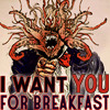 "outlineofash: Parody of Uncle Sam poster. Cthulhu points at the viewer while text reads, ""I want you for breakfast."" (Text - Uncle Cthulhu)"