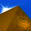 alexseanchai: A golden pyramid with the Eye of Horus upside-down (when right-side-up, the Millennium Puzzle) in front of sun, blue sky (Yu-Gi-Oh! Season 0 pyramid-puzzle)