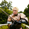 theleaveswant: still from Game of Thrones; Brienne (Gwendoline Christie) in armour, levelling a sword at the viewer (Brienne ready to fight)