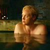 theleaveswant: still from Game of Thrones; Brienne (Gwendoline Christie) up to armpits in bath looking sad, trapped, & uncomfortable (Brienne miserable)